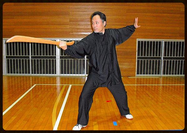 陳式太極拳の刀の套路である陳氏太極単刀の写真