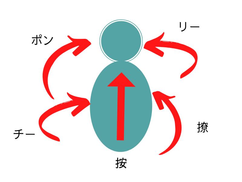 打法としての四正手(掤、捋、擠、按、撩)の方向線を示した図