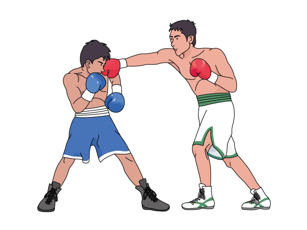 ボクシングのパンチを打つイラスト