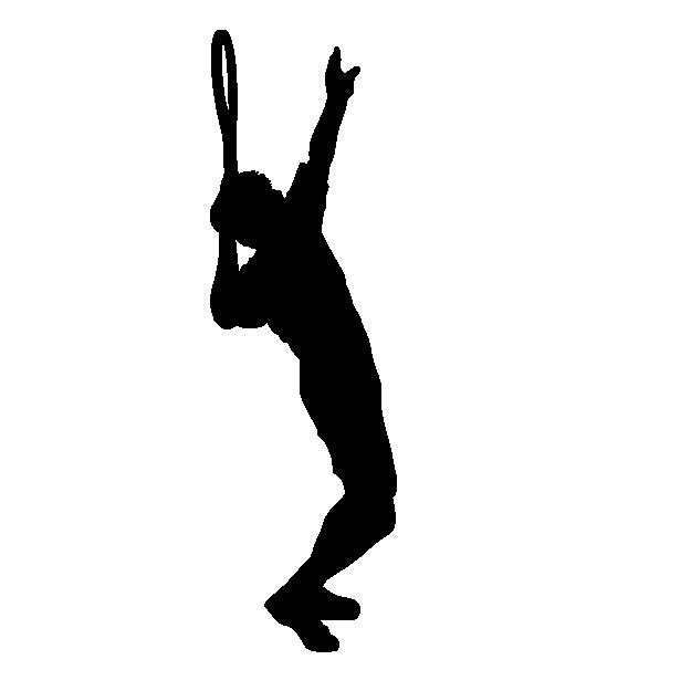 体を反り力を貯めているテニスのイラスト