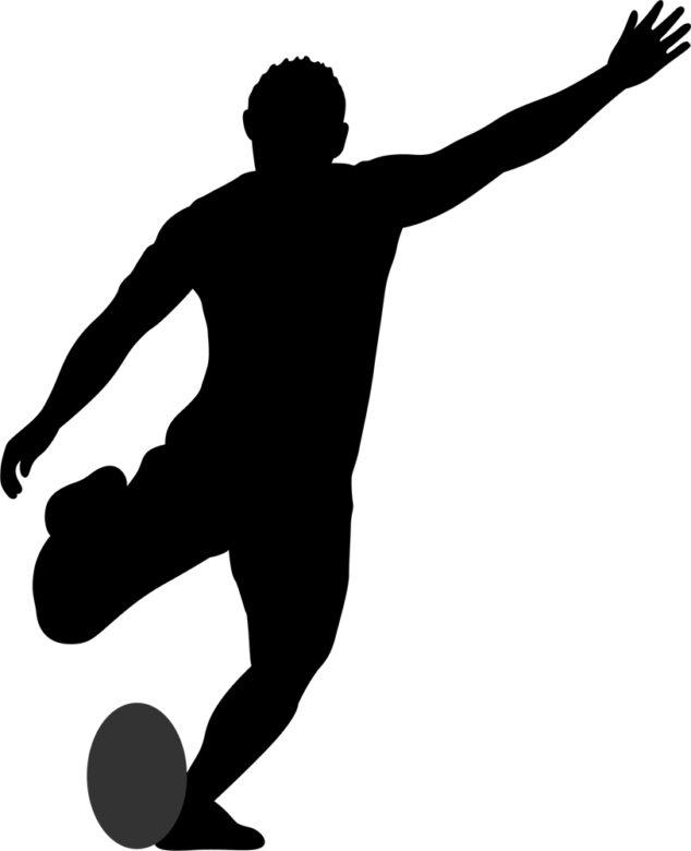 腰を支点に体を反って力を貯め、ラグビーボールを蹴っているイラスト