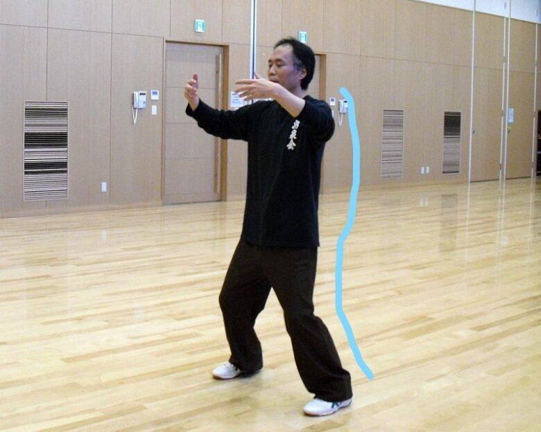太極拳の基本姿勢を身に付けるための練習法である站樁の写真