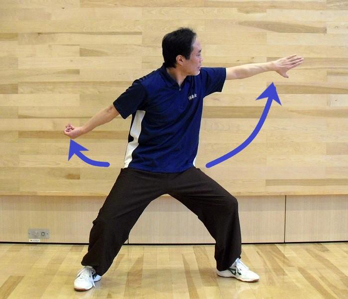 八卦掌の基本功である双撩掌の写真