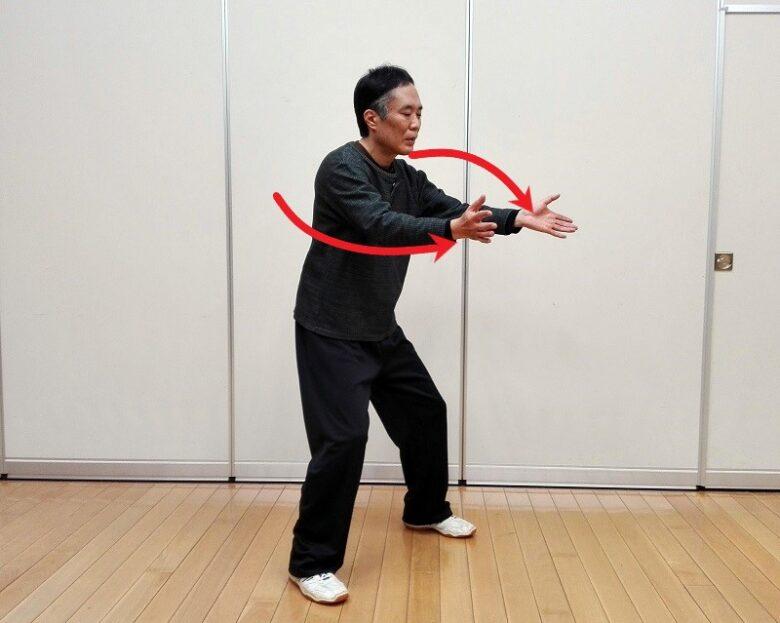 太極拳の基本功である大鵬展翅の写真