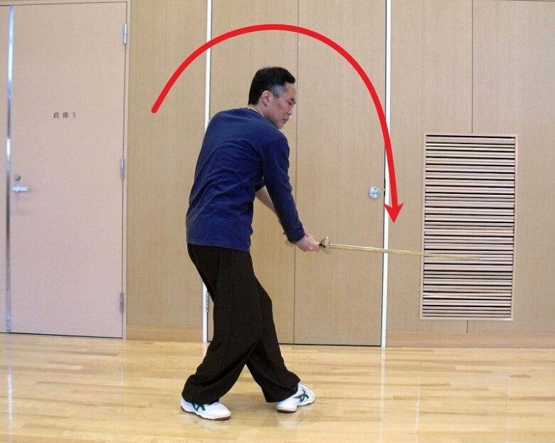 陳式太極剣の劈系の技法である烏龍擺尾の写真