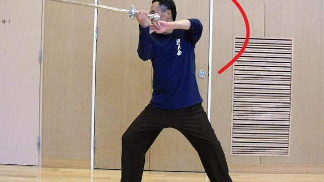 陳氏太極剣の展翅点頭という技法の写真
