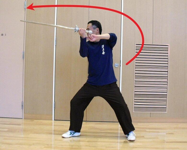 陳式太極剣の掛剣系の技法の写真