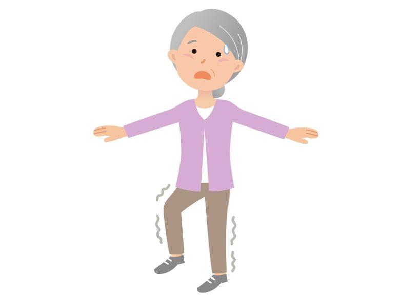 転倒防止のための練習をしているイラスト