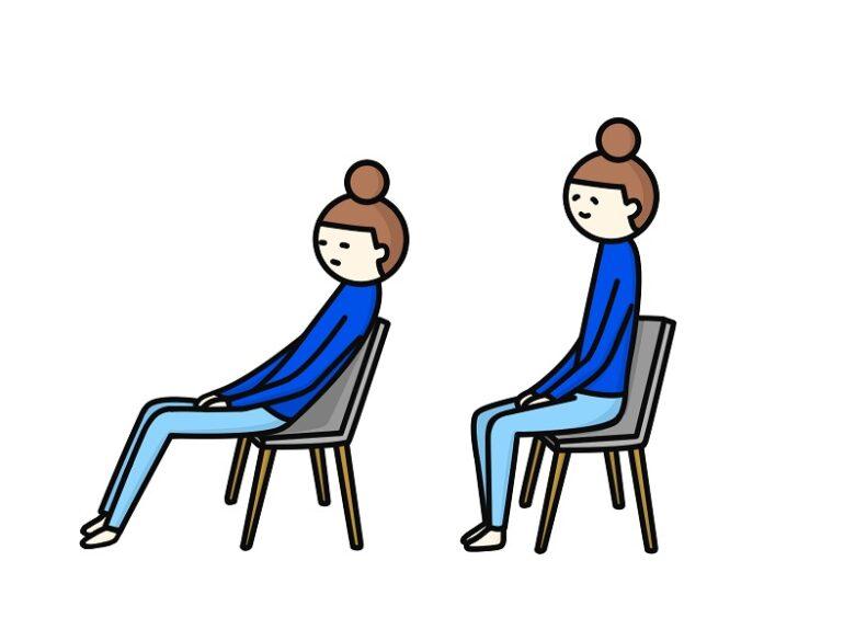 椅子に座った良い姿勢と悪い姿勢を比較したイラスト