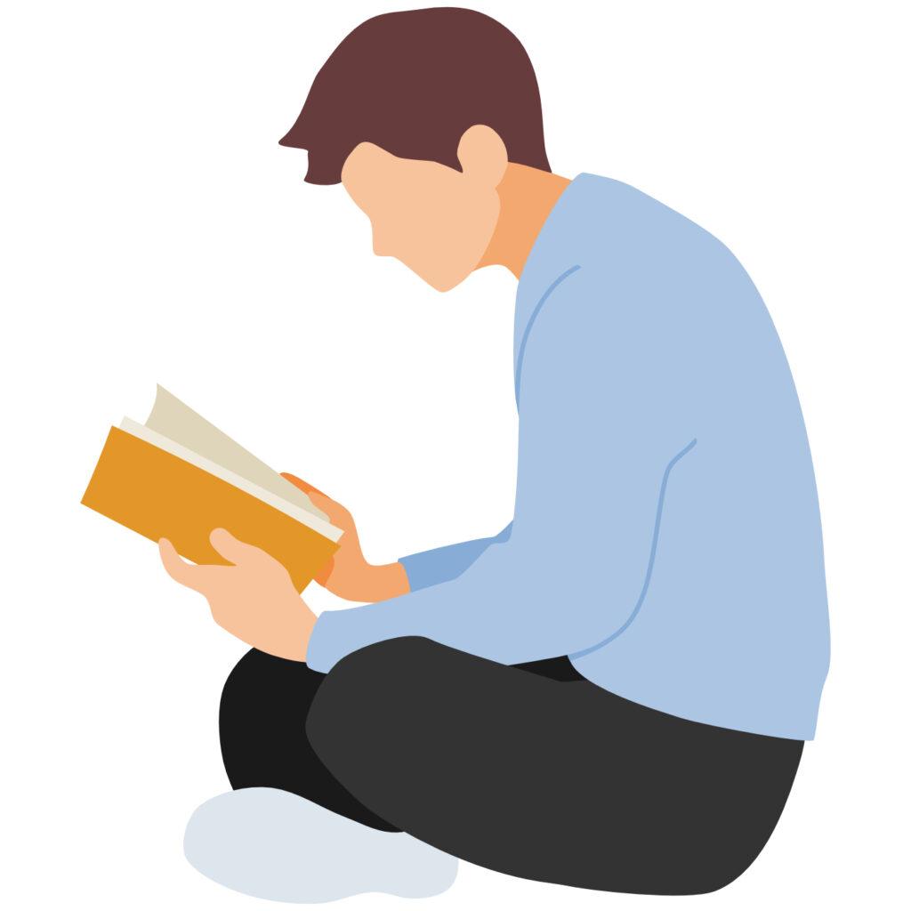床に背を丸めて長時間座り、本を読んでいるイラスト